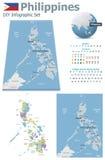 Filipiny mapy z markierami ilustracji