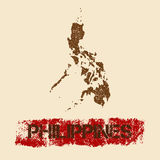 Filipiny martwił mapę Obraz Stock