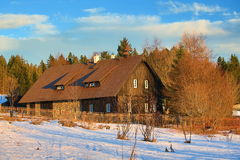 Filipova Huť, Cloudes and trees, winter landscape in Šumava in Horská Kvilda, Czech republic Stock Images