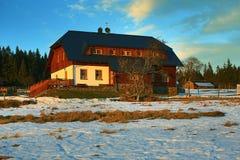 Filipova Huť, Cloudes and trees, winter landscape in Šumava in Horská Kvilda, Czech republic Royalty Free Stock Photo