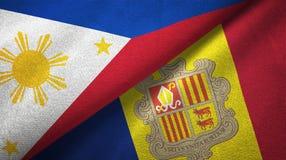 Filippijnen en Andorra twee vlaggen textieldoek, stoffentextuur stock illustratie