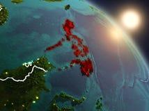 Filippijnen van ruimte tijdens zonsopgang Royalty-vrije Stock Foto's