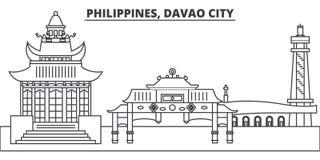 Filippinerna Davao stadslinje horisontvektorillustration Filippinerna linjär cityscape för Davao stad med berömda gränsmärken royaltyfri illustrationer