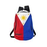 Filippinernaflaggaryggsäck som isoleras på vit Arkivbilder