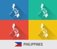 Filippinernavärldskarta i plan stil med 4 färger royaltyfri fotografi
