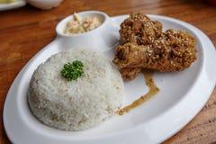 Filippinsk favorit- matstekt kyckling med ris royaltyfri bild