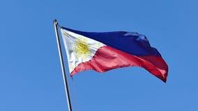 Filippinsk flagga som vinkar på luften lager videofilmer