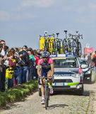 Filippo Pozzato- Paris Roubaix 2014. Carrefour de l'Arbre,France-April 13,2014:The Italian cyclist Filippo Pozzato from Lampre Merida Team while riding on the Stock Photography