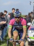 Filippo Pozzato- Paris Roubaix 2014. Carrefour de l'Arbre,France-April 13,2014: Portrait of the Italian cyclist Filippo Pozzato from Lampre Merida Team while Royalty Free Stock Photo