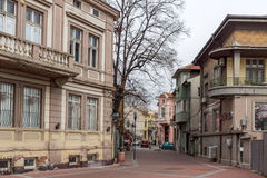 FILIPPOPOLI, BULGARIA - 30 DICEMBRE 2016: Camere e via in città di Filippopoli Fotografia Stock Libera da Diritti