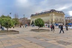 FILIPPOPOLI, BULGARIA - 30 DICEMBRE 2016: Quadrato centrale in città dell'università Paisii Hilendarski di Filippopoli Fotografia Stock Libera da Diritti