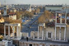 Filippopoli Bulgaria, vecchio e nuovo Fotografie Stock
