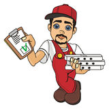 Fill blank and courier. Happy courier man of pizza stand with fill blank and boxes of pizza Stock Photo