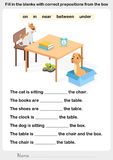 Fill in the blanks with correct prepositions. Preposition worksheet for education Royalty Free Stock Photo
