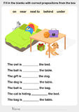 Fill in the blanks with correct prepositions Stock Photo
