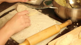 Fill dough stuffed with a spoon stock video footage
