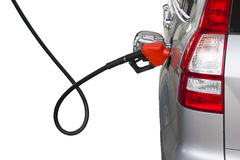 Fill energy. Isolated car adding fuel at gas station Stock Images