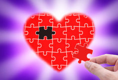 Fill the gap of heart. Stock Images