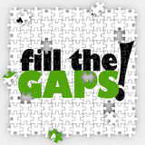 Fill the Gaps Puzzle Hole Shortfall Coverage Insufficient Lackin. Fill the Hole words on puzzle pieces telling you to complete the full picture with total Royalty Free Stock Images