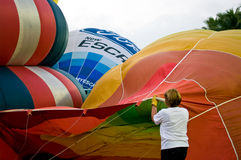 Fill hot air in balloon Stock Photos
