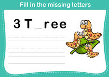 Fill in the missing letters. Illustration, vector Stock Image