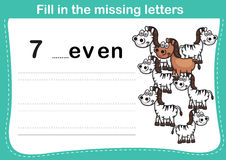Fill in the missing letters. Illustration, vector Stock Images
