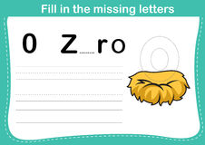 Fill in the missing letters. Illustration, vector Stock Photo