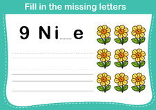 Fill in the missing letters. Illustration, vector Royalty Free Stock Photos
