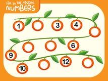 Fill missing number worksheet. Illustration stock illustration