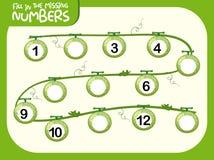 Fill in the missing number worksheet. Illustration stock illustration
