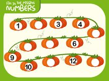Fill in the missing numbers pumpking concept. Illustration royalty free illustration