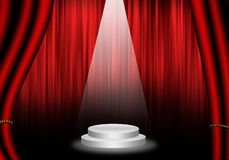 Fill object : Flare Stage with red curtain and pedestal circle. Royalty Free Stock Photo