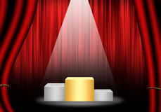 Fill object : Flare Stage with red curtain and pedestal gold ran Royalty Free Stock Image