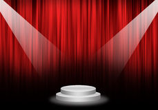 Fill object : Flare two spotlight focus Stage with red curtain a. Nd pedestal circle Royalty Free Stock Photography