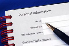 Fill in the personal information Royalty Free Stock Photo