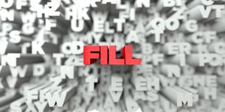 FILL -  Red text on typography background - 3D rendered royalty free stock image Royalty Free Stock Image