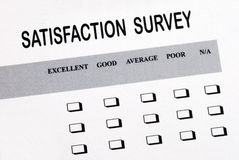 Fill in the satisfaction survey Stock Images