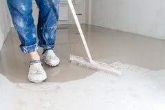 Fill screed floor repair and furnish. Repair work royalty free stock photography