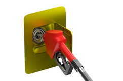 Fill the tank full. Fuel nozzle in the background 3d rendering Royalty Free Stock Photography