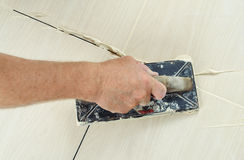 Fill the tile joints with grout Stock Photography
