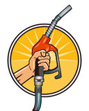 Fill up economically. Refuel and drive economically, character Royalty Free Stock Images