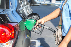 Fill up fuel at gas station.  stock photos