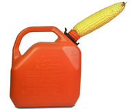 Fill up Gas. Fresh Corn filling up a gasoline can royalty free stock photography