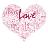 Fill your heart with love. A lovely heart shape filled with so much love. The text are of different fonts and sizes mixed and matched to piece out the heart Royalty Free Stock Photos