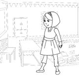Fille à l'intérieur de page de coloration de pièce illustration stock