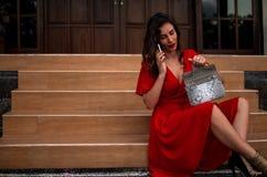 Fille à la mode dans des drees rouges tenant le sac en cuir de python de peau de serpent, équipement élégant Modèle près de la vi image libre de droits