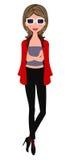Fille à la mode dans la jupe rouge Image libre de droits