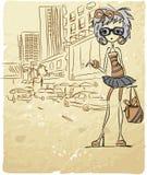 Fille à la mode de dessin animé, vecteur Image libre de droits