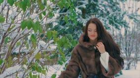 Fille élégante de brune près des arbres verts en hiver, dans le mouvement lent de manteau de fourrure brun banque de vidéos