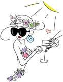 Fille élégante mignonne de griffonnage avec le cocktail Photos stock